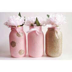 Pink Mason Jars, Gold Glitter Centerpiece, Baby Shower Decor, Pink and Gold, Gold First Birthday Pink Mason Jars, Glitter Mason Jars, Mason Jar Diy, Baby Shower Prizes, Baby Shower Table, Diy Baby Shower Decorations, Baby Shower Centerpieces, Birthday Decorations, Mason Jar Birthday