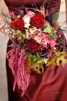 Lots of texture including fall leaves and trailing amaranthus--if not for bouquets, amaranthus looks great trailing from large arrangements.