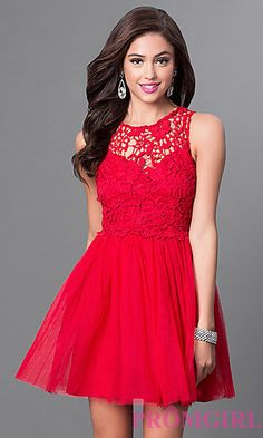 Lace Fit and Flare Short Dress with Bow at PromGirl.com