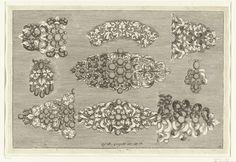 Josef Friedrich Leopold   Negen ontwerpen voor juwelen, Josef Friedrich Leopold, David Baumann, 1695   Blad 15 uit serie van 17 bladen.