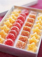 Although it takes only about an hour to make the jelly-candy base for these diminutive treats, you'll need three days to finish the candies. Candies are first dried and cut, then, after 48 hours, they are rolled in sugar. Sanding sugar adds a bit more sparkle than granulated.