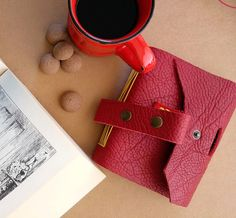 Red dream handmade leather journal by on Etsy Leather Journal, Handmade Leather, Hand Sewing, Red, Stuff To Buy, Etsy, Sewing By Hand, Leather Diary