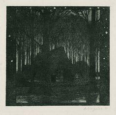 Nocturne, Heinrich Vogeler, Intermediate Colors, Night Illustration, Etchings, Woodblock Print, Art Auction, Printmaking, Shadows