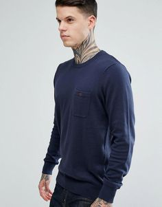BEN SHERMAN LONG SLEEVE POCKET KNIT SWEATER - NAVY. #bensherman #cloth #