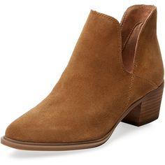 Steven by Steve Madden Women's Dextir Leather Bootie - Camel - Size 10 ($75) ❤ liked on Polyvore featuring shoes, boots, ankle booties, camel, platform bootie, short leather boots, leather platform boots, cut-out ankle boots and cut-out booties