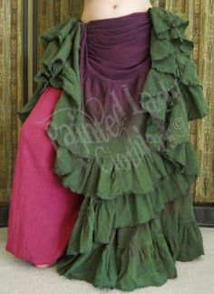Maroon Brown & Moss Green 25 Yard Petticoat Skirt worn over our Burgundy Standard Pantaloons.  You can order yours here:  http://www.paintedladyemporium.com/Shop-Here.html