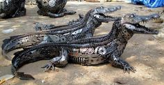 Crocodiles made from auto parts.