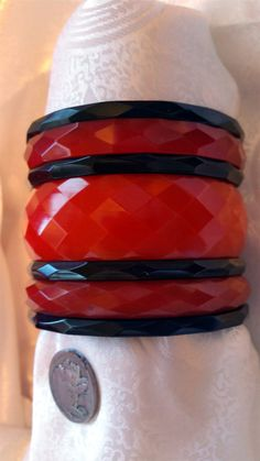 Stunning Rare Set Faceted Cherry Red & Black by NativeBliss