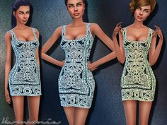 The Sims Resource: Ornately Curve-Enhancing Dress by Harmonia • Sims 4 Downloads