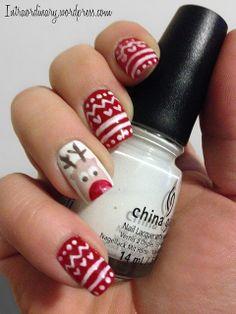 Rudolph Nails by intraordinary, via Flickr #NailArt #NailPolish #ChristmasNails