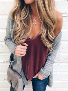 #winter #outfits gray cardigan with pink camisole