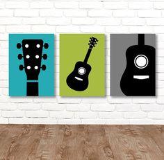 44 Ideas Wall Art Music Bedrooms For 2019 Guitar Nursery, Guitar Bedroom, Guitar Wall Art, Music Bedroom, Nursery Wall Art, Wall Art Decor, Nursery Decor, Music Canvas, Diy Canvas Art