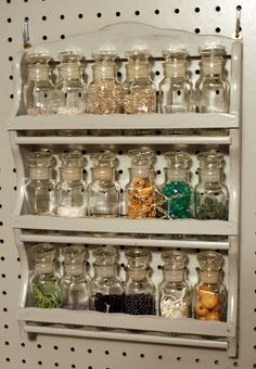 Use a spice rack and peg board to organize - Polly Want A Crafter?: September 2010