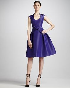 Monique Lhuillier Full-Skirt Taffeta Dress - Neiman Marcus