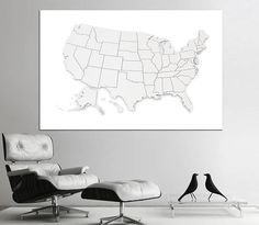 Extra Large United States Map With Raund State Borders Canvas - Us map with state lines