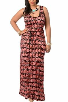 DHStyles Women's Plus Size Printed Racer Back Maxi Dress with Rope Belt