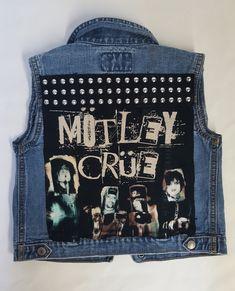 Super cool Motley Crue denim rock vest for your little rock star! Diy Clothes, Vest, Boutique, Rock, Denim, Skulls, Kids, Clothing, Fashion