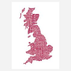 British Gastronomy Map Red  by LucyLovesThis  Gastronomy Maps  $27fab  $40 retail price  QuantityAdd to Cart  Hungry for travel? From haggis in Scotland to pasties in Cornwall, the British Gastronomy Map celebrates regional specialties with beautifully detailed type. The saturated red and deliciously shaped words provide a rich visual feast.
