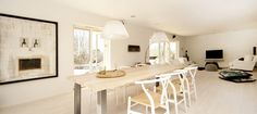 bright and airy room with family dining table