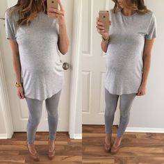 """Fabulous Basic Grey Tee • Item Information: A great full length basic to have. Great quality, very comfortable on with a nice looser fit. 95% rayon 5% spandex. Looks very cute over skinny jeans or denim shorts with just the front tucked in. Small: 29.5"""" long • 19.5"""" across the chest.   • Size I'm modeling: Small   • Sizes available: Medium   {{ Please do not purchase this listing, I will create you a new listing to purchase }} Thank you! Xo. Tops Tees - Short Sleeve"""