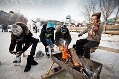 Lacing up the skates at The Forks in Winnipeg, Manitoba, Canada. Photo by Leif Norman