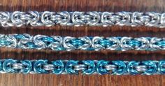 Byzantine in 3/3 silver, 1/3 blue and 2/3 blue. By Malin Lannerhed