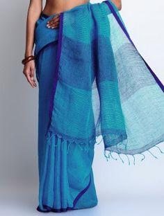 Blue Linen Handwoven Saree