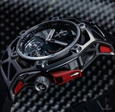 NEW Hublot #Techframe, a Ferrari design for Hublot watch celebrating Ferrari's 70th Anniversary. Equipped with a tourbillon and chronograph. Look out for more details on this watch coming soon! ○ Details soon on www.ablogtowatch.com