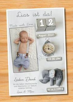 Ausgefallene Dankeskarten Baby Geburt 245 - Bild vergrößern