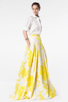 CH Carolina Herrera - A classic white shirt with sunshine yellow floral full maxi skirt