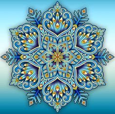 "From the front cover of the new snowflake mandalas coloring book: SNOWFLAKES TO COLOR: A Snowflake Mandala Coloring Book, Containing 50 Elegant Snowflake Mandalas for the Christmas Holidays and the Winter Season"" by Kameliya Angelkova Mandala Artwork, Mandala Drawing, Fractal Art, Fractals, Buda Wallpaper, Tangle Patterns, Korean Art, Glass Wall Art, Mandala Coloring"