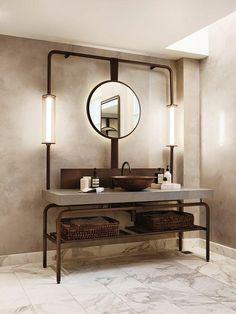 Dunkles Metall und Beton Badezimmer Eitelkeit mit offenen Regalen
