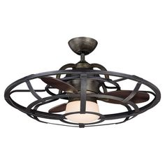 Bring breezy style to your living room or den with this industrial-inspired ceiling fan, showcasing a cage-themed design and frosted shade.    ...