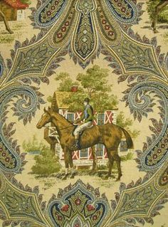 Equinox Navy - equestrian & paisley lodge print from P. Great for window treatments of upholstery fabric. Equestrian Decor, Equestrian Outfits, Equestrian Style, Riding Hats, Riding Helmets, Modern Materials, Horseback Riding, Cottages, Decoration