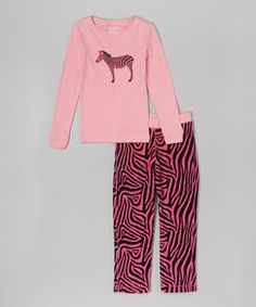 Another great find on #zulily! Fuchsia Zebra Pajama Set - Toddler & Girls #zulilyfinds