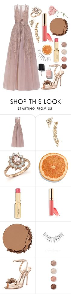 """""""Red Carpet // Rose Gold"""" by carolinemurphy530 on Polyvore featuring Elie Saab, Marchesa, Bloomingdale's, Urban Decay, Sophia Webster, Terre Mère and Chanel"""
