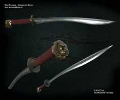 Old high poly of mine, re-textured with Substance Painter. Fantasy Weapons, Fantasy Warrior, Fantasy Rpg, Zombie Weapons, Weapons Guns, Swords And Daggers, Knives And Swords, Damascus Steel Sword, Weapon Concept Art