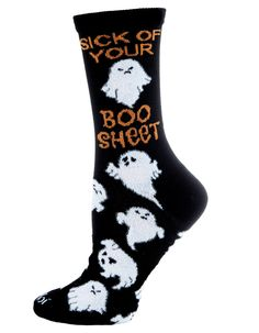 Sick of Your Boo Sheet Halloween Crew Socks by MeMoi Crew Socks, Funny Tshirts, Sick, Halloween, T Shirt, Fashion, Moda, Tee Shirt, Fashion Styles