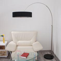 Materiałowa lampa stojąca SHING z czarnym abażurem 9620141