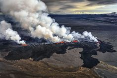 An aerial view of the eruption at the Holuhraun Fissure by the Bardarbunga Volcano in Iceland on Sept. 2, 2014.