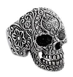 ✿ Sterling Silver Garden Skull Ring ✿