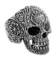 ☆ Beautiful Sterling Silver Garden Skull Ring ☆