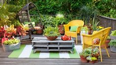 Buff Strickland put together this great outdoor place.  Love the hanging chair.