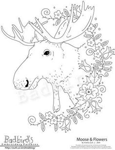 Moose and Flowers Embroidery Pattern by badbird on Etsy, $10.00