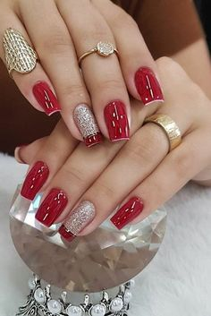 Girls Nail Designs, Nail Art Designs Videos, Pedicure Nail Designs, Pink Acrylic Nails, Pink Nails, Cute Red Nails, Red Gel Nails, Glitter Nails, Classy Nails