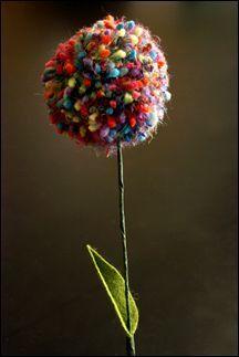* Pom pom flowers from yarn :) cute