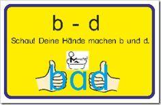 """Nach einer Idee auf Pinterest habe ich eine Datei erstellt, um Kindern den Unterschied von """"b"""" und """"d"""" mit einem einfachen Trick beizubringen. Dazu gibt es noch 4 Übungsblätter, um weiterlesen →"""