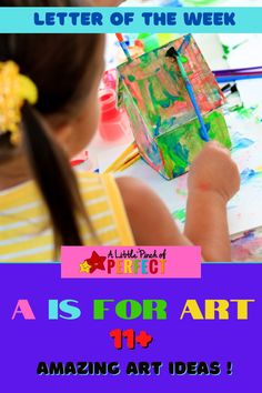 """Today we are continuing our """"A"""" themed week of our Perfect Tot School & Preschool A-Z series and it's time to party for another Love to Learn Linky. This post is full of ideas! Let's check out some different types of art then pick a craft from the list and get creating. I am so glad you are here to join us. Let's get started! Art Activities For Kids, Diy Crafts For Kids, Art For Kids, Letter Of The Week, Another Love, Tot School, Types Of Art, Kids House, Amazing Art"""