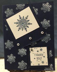 Snowflake Holiday Thank You Card by CraftyCardandWreaths on Etsy