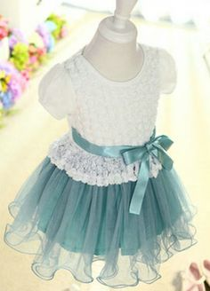 White and Blue Short Sleeve Flower Girl Dress